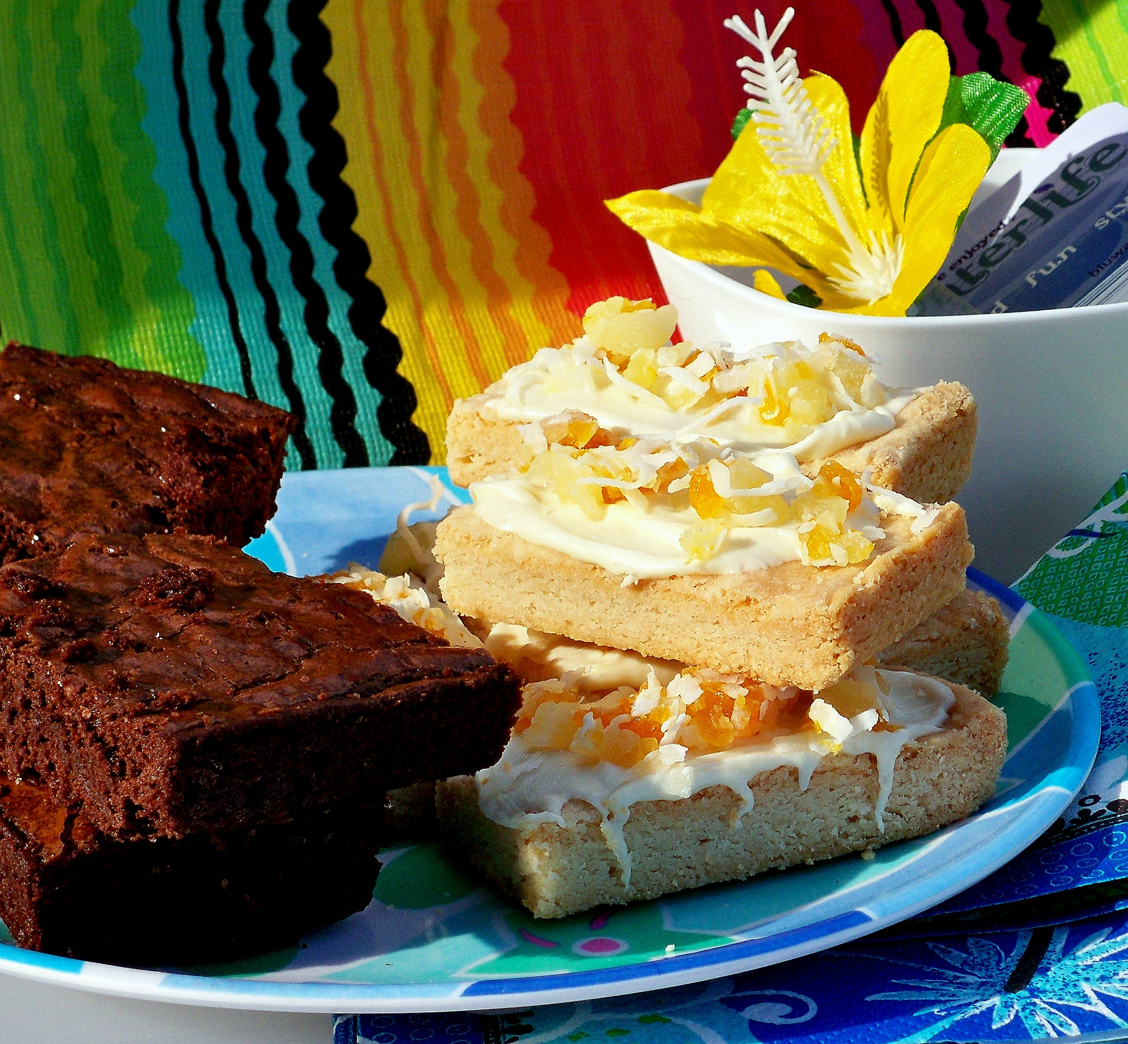 brownies & tropical shortbread cookies with white chocolate ~ YUM!