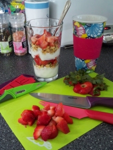 breakfast parfaits ~~~ and coffee in the Lily travel cups