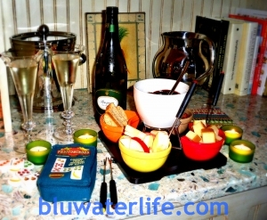 New Year's Eve ~ chocolate fondue, prosecco and dominoes :-)