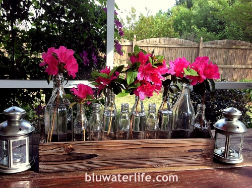 Easy centerpiece with bottle collection