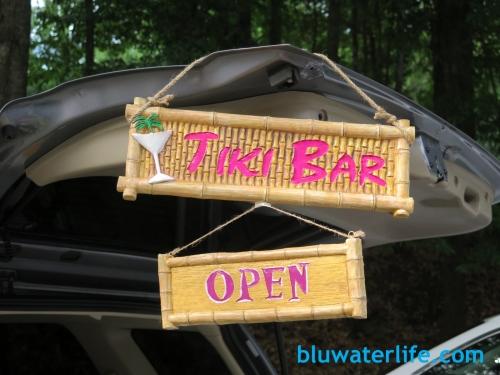 Tiki Bar tailgate sign