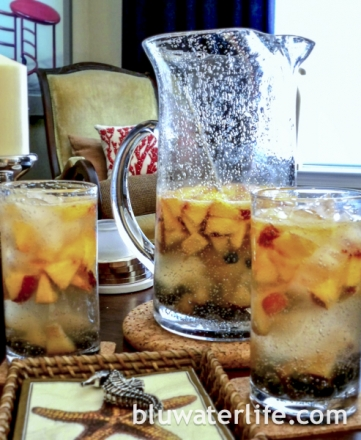 Summer Sangria with peaches, nectarines and blueberries