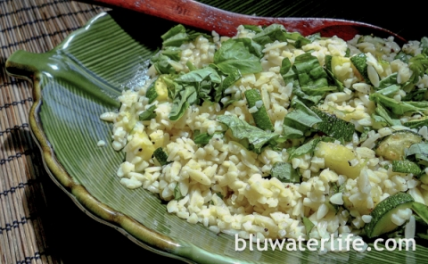 Orzo with basil and zucchini