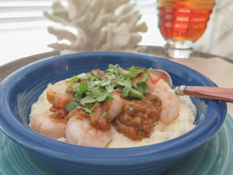 Shrimp and Grits with Roasted Tomato Sauce