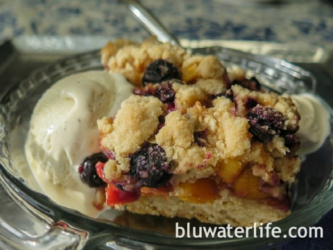 peach & blueberry cobbler bars ~